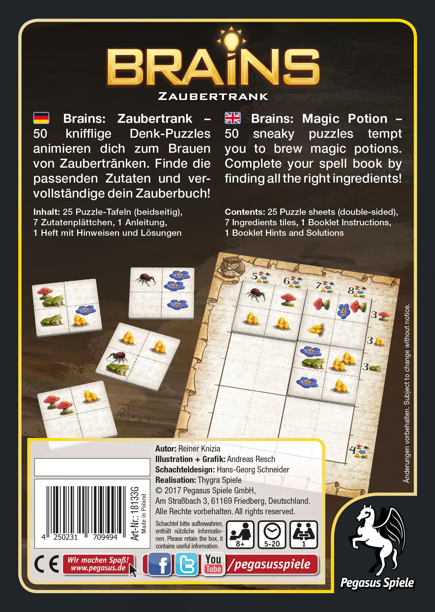 Brains - Zaubertrank / Denkspiele-Mentaltraining (Pegasus Spiele ...